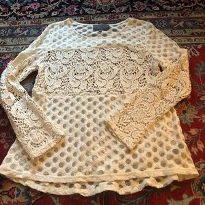 Anthropologie Petite lace top,  size m
